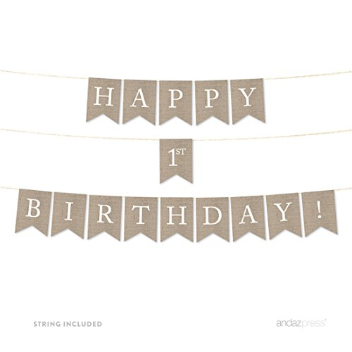 Andaz Press Hanging Bunting Pennant Party Banner with String, Printed Burlap Cardstock, Not Burlap Fabric, Happy 1st Birthday!, 6-Feet, 1-Set, Includes String, Not Burlap (Burlap Happy Birthday Banner)