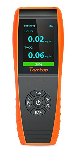 Temtop Air Quality Detector Professional Formaldehyde Monitor Temperature and Humidity Detector with PM2.5/PM10/HCHO/AQI/Particles Recording Curve LKC-1000S+ by Temtop (Image #1)