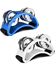 Flexzion Foot Tambourine Percussion with Double Row Steel Jingles - Foot Shaker Musical Instrument Drum