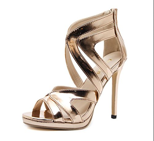 DANDANJIE Sandalias para Mujer Summer Hollow High Heels Crossed Strap Zapatos con Cremallera Champagne Gold Sandals Zapatos caseros Oro