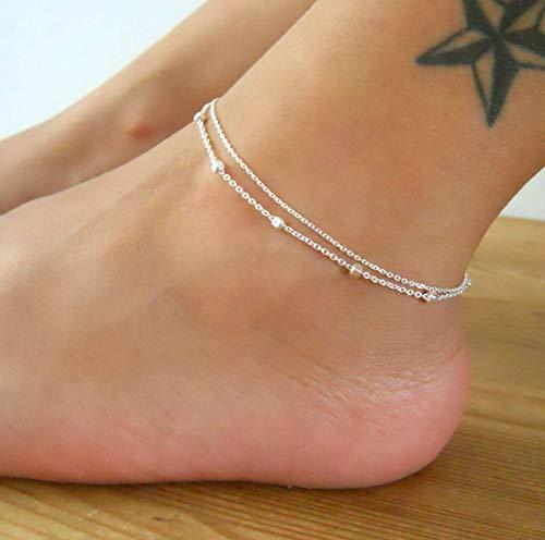 (Handmade Sterling Silver Multi Stranded Satellite Anklet)