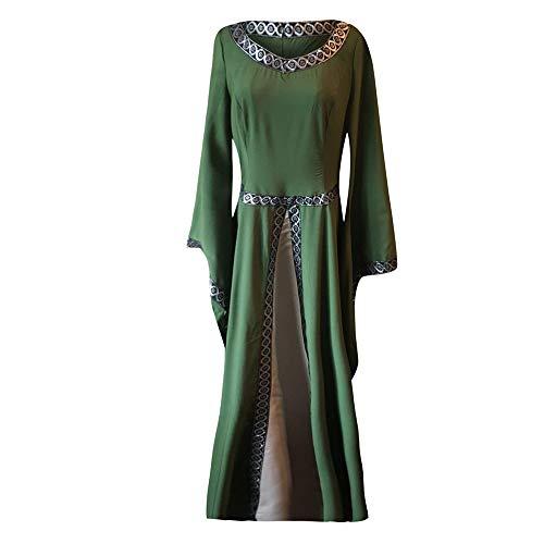Cinnamou Vestidos Para Disfraz Mujeras Con Fiesta Manga Larga Verde Capucha Largo De Mujer Medieval Vestido rv7U8qr