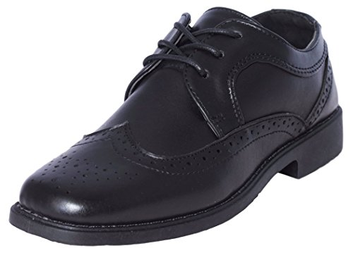 Josmo Boys Classic Comfort Dress Wing-Tip Oxford Shoe (Toddler, Little Kid, Big Kid), Black, Size 2'