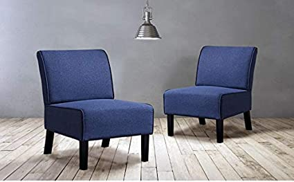 IDS Modern Side Chair for Living Room Bedroom- Accent Chair - Wood Legs  Blue Fabric