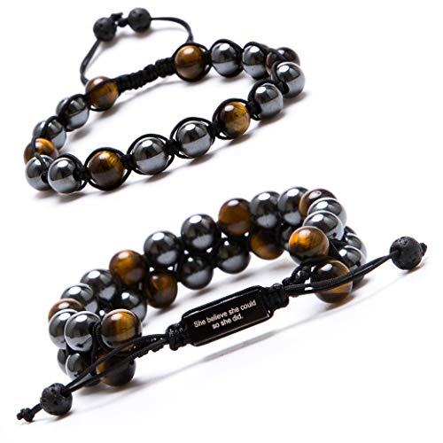 Bivei Adjustable Hematite Magnetic Therapy Inspirational Bracelet Gemstone Beaded Healing Bracelet Pain Relief Pack of 2(Tiger Eye Stone)