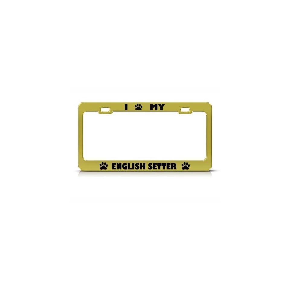 English Setter Dog Animal Metal license plate frame Tag Holder