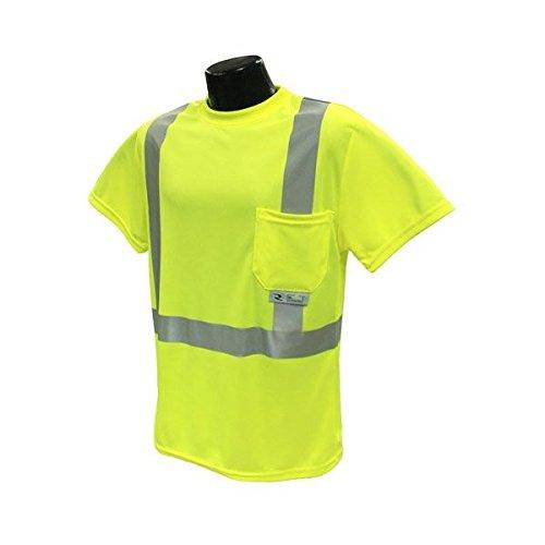 "T-Shirt Hi-Viz 2"" Tape Green Short Sleeve Class 2 Pocket ExtraLarge XL-ST11-2PGS"