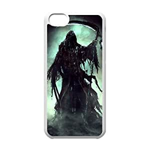 diy case Grim Reaper Shell Phone for iPhone 4 4s White Cover Phone Case [Pattern-5]
