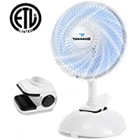 Tornado 6 Inch Clip Fan - Classic Series - 2-Speed Powerful Clip On Clamp Fan for Sturdy and Adjustable Tilt Whisper Quiet Operation - 60-Inches Power Cord Included - ETL Safety Listed