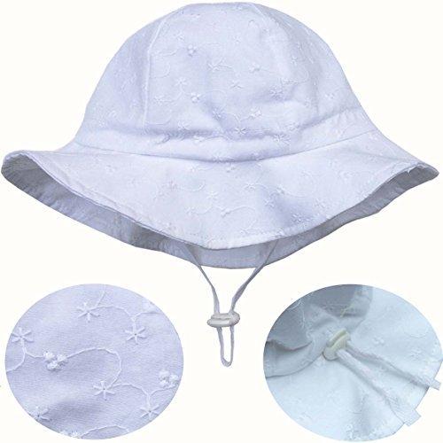 (Eyelet Toddler Sun Hat 50+ UPF Cotton Size Adjustable + Chinstrap(M: 9m - 3Y, White)