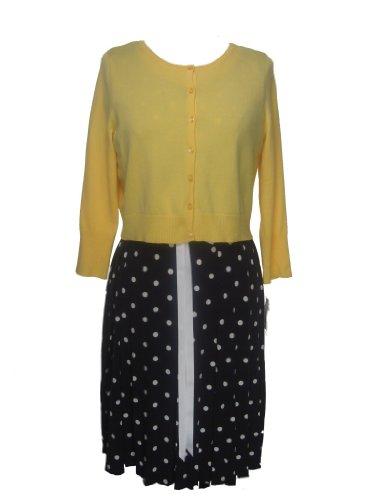AGB Women's Plus Size Sweater/Dress 2-Piece Set-BLUE/WHITE/YELLOW-14