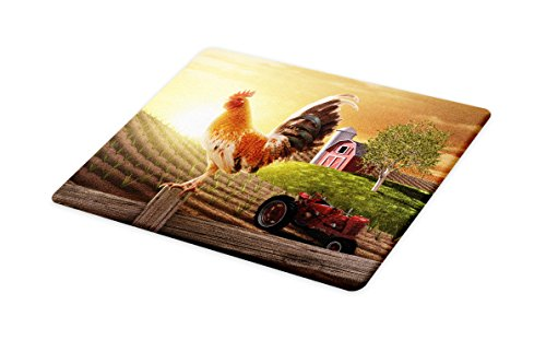 Glass Red Rooster - Lunarable Country Cutting Board, Farm Barn Yard Image with Rooster Animal Early Bird Nature and Rising Sun Print, Decorative Tempered Glass Cutting and Serving Board, Large Size, Pale Brown Red