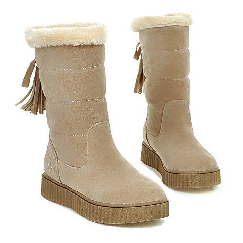 AgooLar punta beige de tacones bajos cerrada bajos redonda punta botas tacones cuero rPZzqEr