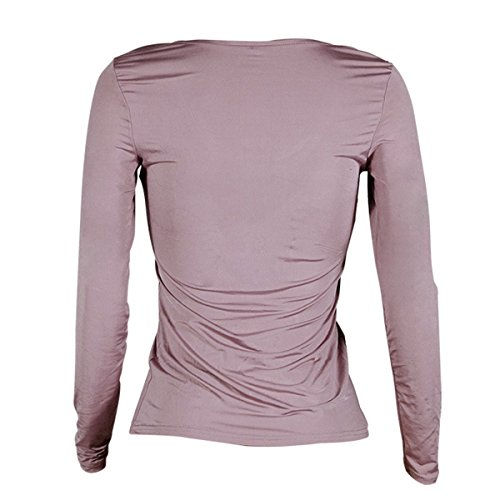 Maniche shirt Tinta Maglietta Corte A Lunghe Purple Girocollo Fanashion T Unita SVpqUzM