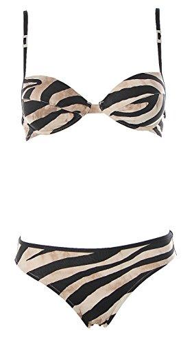 Borabora Damen Push Up Bügel Bikini Brazil Slip Zebra Print Schwarz Creme