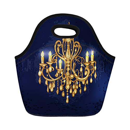 - Semtomn Lunch Tote Bag Gold Golden Chandelier in Dark Room Candles Baroque Crystal Reusable Neoprene Insulated Thermal Outdoor Picnic Lunchbox for Men Women