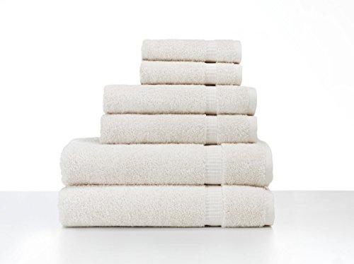 Turkish Luxury Hotel & Spa Collection 2 Bath, 2 Hand, 2 Washcloth Set of 6 Turkish Cotton - Organic, Eco-Friendly (6 Piece Set, Ivory)