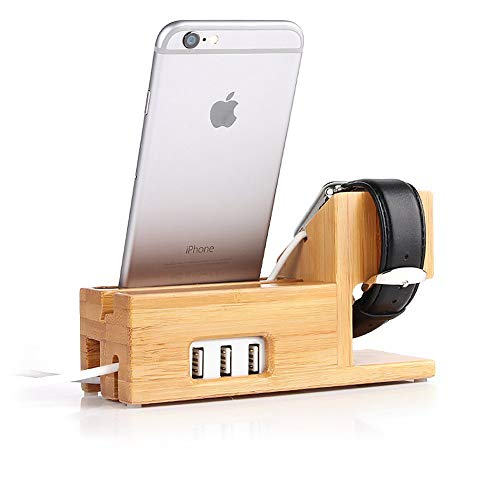 (Compatible with Apple Watch Stand USB Charging Stand -Hunter-k Phone Stand with 3 USB Charging Port Bamboo Wood Charging Dock Station for 38mm and 42mm Apple Watch & iPhone 6 6 Plus 5S 5 7 7 P)