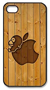 LZHCASE Personalized Protective Case for iPhone 4/4S - Apple Logo with Wooden Background