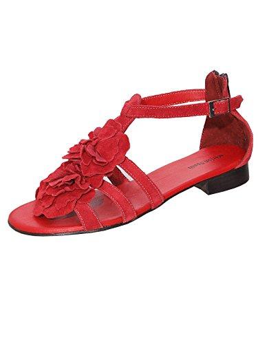 Marion Spath Damen 27-10-13 Wildleder Blumendekor-Sandalette Rot