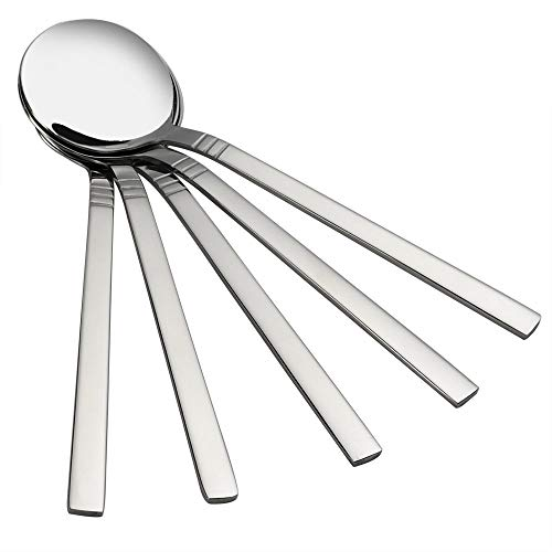 (Fiaze Round Soup Spoon, 12 Pieces Stainless Steel Bouillon)