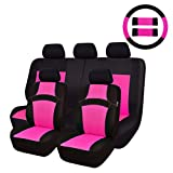 CAR PASS Rainbow Universal Fit Car Seat Cover -100% Breathable with 5mm Composite Sponge Inside,Airbag Compatible(14PCS, Rose Pink)