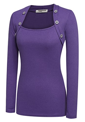 Zeagoo Women Long Sleeve Button Decor Slim Casual Basic T-shirt Blouse