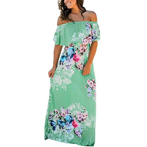 iOPQO Dress for Womens, Ladies Summer Flower Print Maxi Dress Flower Pattern