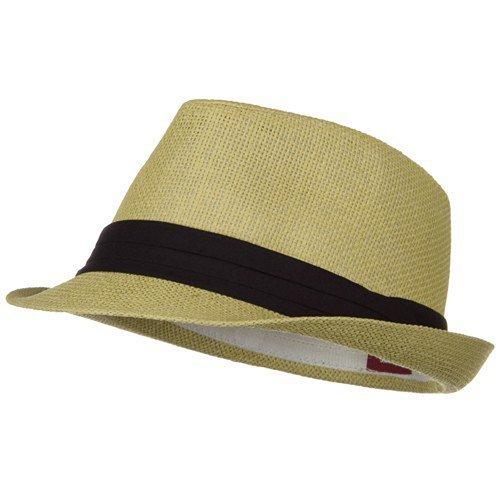 [Solid Band Summer Straw Fedora - Khaki Black W20S58B] (Pork Pie Hat For Sale)