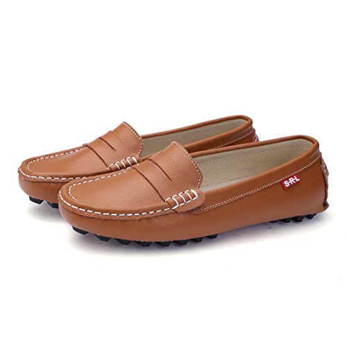 6babf3e24a8 SUNROLAN 818-2zong8.5 Casual Women s Genuine Leather Penny Loafers Driving  Moccasins Slip-
