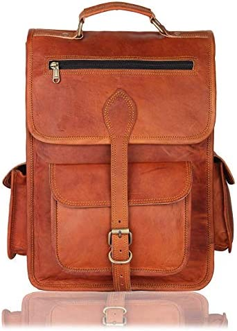 16 Inch Genuine Leather Retro Rucksack Backpack Bag