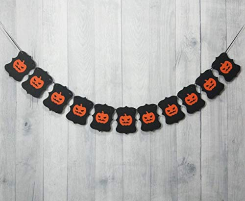 Thedmhom 1 Pcs Halloween Pumpkin Banner Garland Vintage Hanging Decoration Indoors Bunting Festival Trick or Treat Theme Party Flag Wall Decor Home School Office Door Cover Garden Popular Decorations