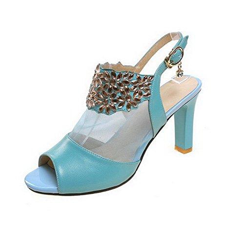 Allhqfashion Kvinners Open-toe Kitten Hæler Mykt Materiale Fast Spenne Sandaler Blå