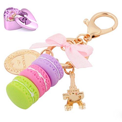 Macaron Cake Eiffel Tower Dessert Candy Keychain Bowknot Car Keyring Bag Purse Pendant -