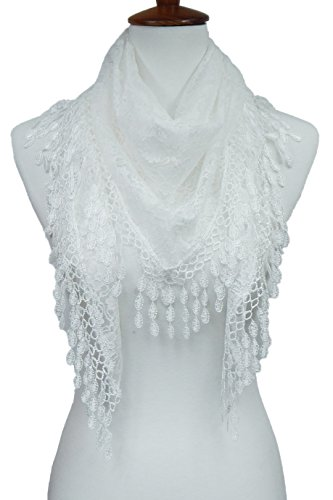 Cindy & Wendy Lightweight Triangle Floral Fashion Lace Fringe Scarf Wrap for Women (WHITE-8XH)