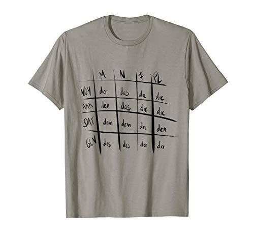 Funny t-shirts for teachers German grammar table