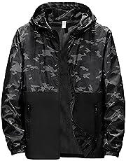 WZRY Men's Lightweight Bomber Jacket Printed Hooded Windproof Slim Lightweight Casual Coat Zipper Long Sleeve Thin Outwear