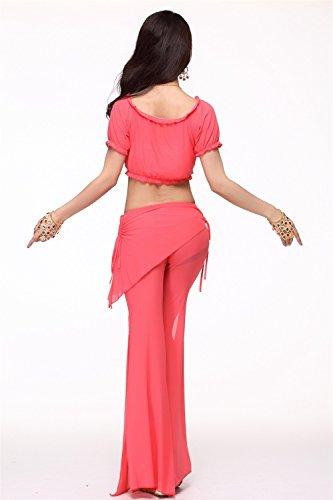 Danza del vientre Disfraz Set Bandage Yarn Top+See-through Wide Leg Pantalones Watermelon Red