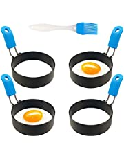 Egg Ring Pancake Shaper Mold with Oil Brush Round Non-stick Stainless Steel Metal Muffin Breakfast Tool for Griddle Frying Cooking Pack of 4