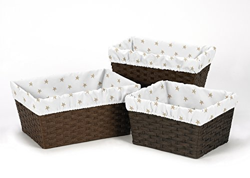 - Sweet Jojo Designs 3-Piece Gold and White Star Fits Most Basket Liners for Celestial Collection