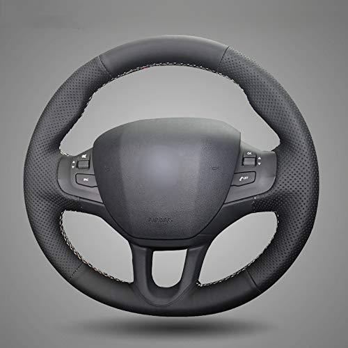 KDKDKLMB steering wheel cover Black Leather Car Steering Wheel Cover,for Peugeot 208,for Peugeot 2008 Car -Gray thread: