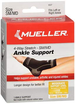 Mueller Sport Care 4-Way Stretch Ankle Support Small/Medium - 1 ea, Pack of 2