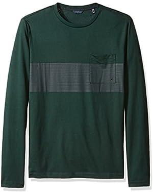 Men's Slim Fit Chest Stripe Long Sleeve T-Shirt