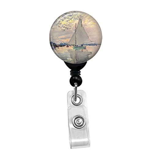 Claude Monet - Sailboat - Retractable Badge Reel - ID Name Tag Custom Badge Holder (Black Badge Reel with Belt Slide Clip) ()