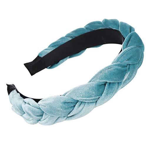 Velvet Knot - ManxiVoo Women Braided Knot Headband Velvet Head Hoop Chunky Wide Plaited Hairbands Girls Hair Wrap (Blue)