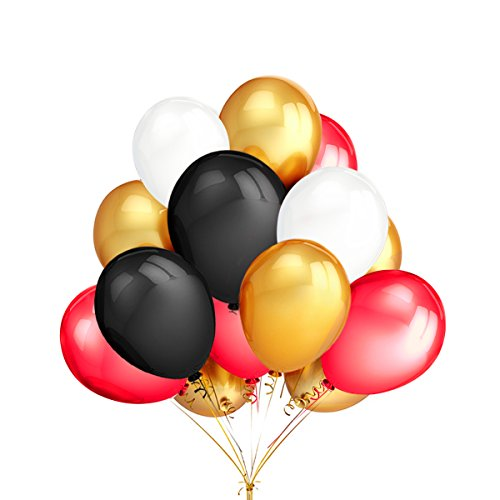 LeeSky 100Pcs 12 Inches Gold & Black & White & Red Color Latex Party Balloons,for Graduation Wedding Bachelorette Birthday Hawaii Party Decoration -