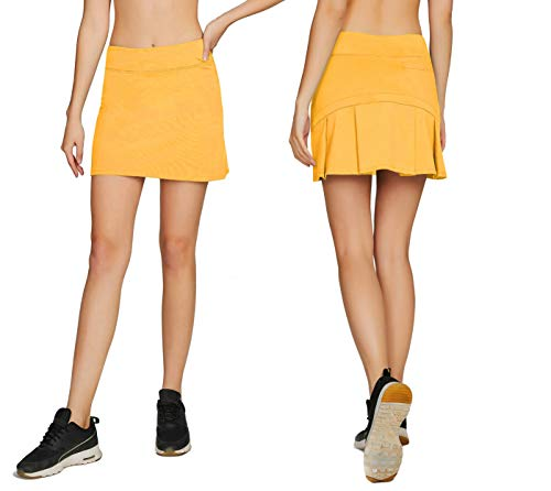 Cityoung Women's Casual Pleated Golf Skirt with Underneath Shorts Running Skorts S Yellow