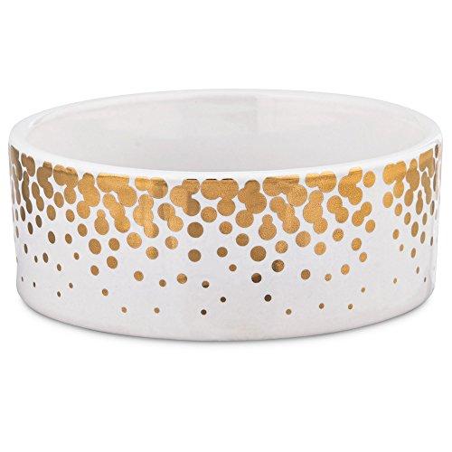 Small Ceramic Dog Bowl (Harmony Gold Dots Ceramic Dog Bowl, 1 Cup, Small, White / Gold)