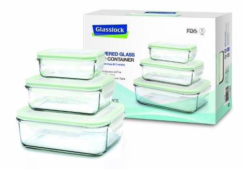 Glasslock Frischhaltedose 3er SET, rechteckig, (1x 400ml, 1x 1000ml, 1x 2000ml) GL-135