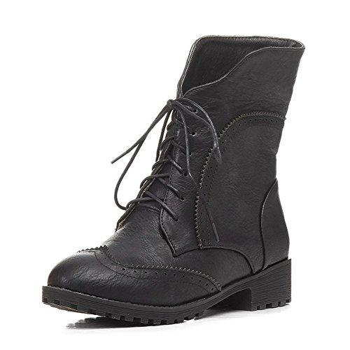 BalaMasa Ladies Hollow Out Leopard Pattern Trekking Imitated Leather Boots Black l9KloHMkb